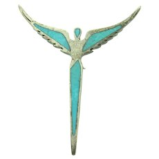 Marked 925 sterling silver figural angel Brooch with crushed turquoise stone