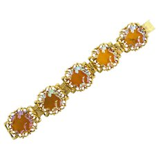 Signed Judy Lee book chain link Bracelet with unusual iridescent orange glass disks
