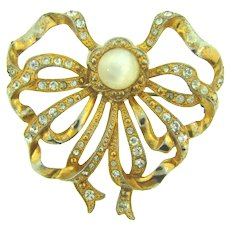 Vintage gold tone bow Brooch with crystal rhinestone and opaque cabochon