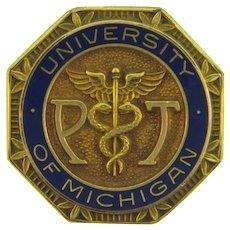Vintage 1958 University of Michigan Physical Therapist Lapel Pin