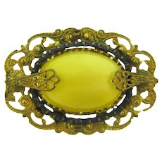 Vintage early Etruscan style gold tone Brooch with large yellow glass cabochon