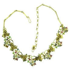 Vintage 1950's choker Necklace with leaf and rhinestone links