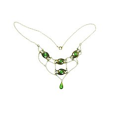 Antique Art Nouveau gold tone festoon Necklace with green glass stones