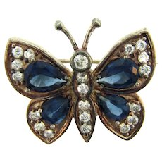 Vintage figural butterfly Scatter Pin with dark blue and crystal rhinestones
