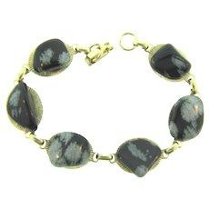 Vintage link Bracelet with obsidian snowflake agate stones