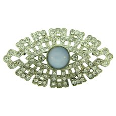 Vintage white metal 1940's Brooch with crystal rhinestones and opaque blue cabochon