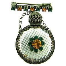 Vintage Bar Pin with dangling pendant perfume bottle