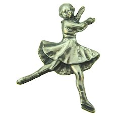Marked sterling figural ice skater Brooch