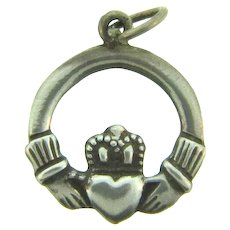 Marked sterling silver small Irish Claddagh Charm