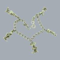 Vintage silver tone link Bracelet with Disney charms