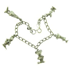 Vintage silver tone link Bracelet with Disney charms