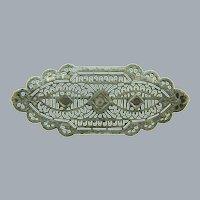 Vintage filigree silver tone Brooch with paste stones