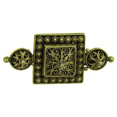 Marked 830 silver vermeil Etruscan style with filigree early Brooch