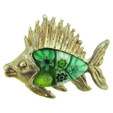 Marked 925 sterling silver figural fish Pendant with millefiori body