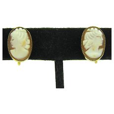 Marked 1/20 12K gold filled framed shell cameo screw on Earrings