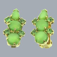 Vintage 1960's clip back Earrings with light green rhinestones and cabochons