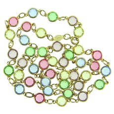 Signed Rafaelian Austrian crystal USA crystal beaded necklace in pastel shades