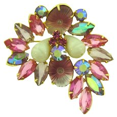 Vintage Juliana D&E Brooch with pink, lavender, AB rhinestones, pillow top givre stones and Art Glass beads