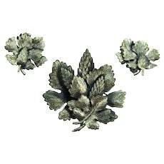 Signed Botticelli silver tone nature inspired Brooch and clip back Earrings