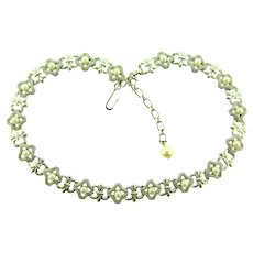 Signed Trifari silver tone link choker Necklace with imitation pearls