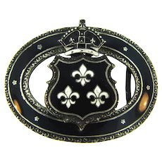 Vintage Coat of Arms Belt Buckle with black and white enamel