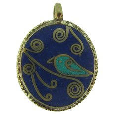 Vintage silver tone Pendant with crushed lapis lazuli and turquoise stones