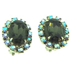 Vintage 1960's clip back Earrings with smoky and blue AB rhinestones