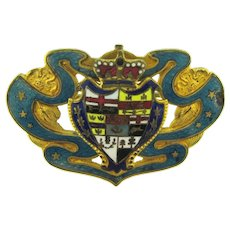 Vintage Victorian Coat of Arms enameled Sash Pin