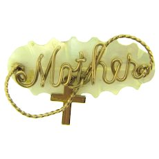 Vintage Mother of Pearl Brooch with gold tone wire Mother and small Cross