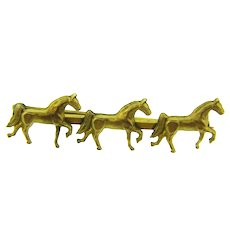 Vintage figural equestrian Bar Pin with horses