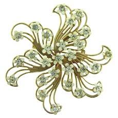 Vintage pinwheel Brooch with tiny white enamel flowers and crystal rhinestones