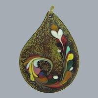 Vintage enamel on copper large Pendant