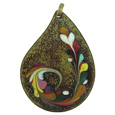 Vintage enamel on copper large Pendant