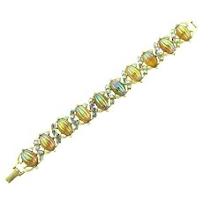 Signed Coro link Bracelet with barrel cabochons and AB rhinestones