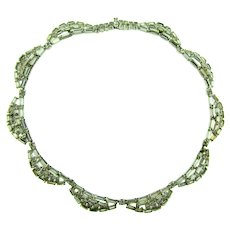 Signed Kramer of New York scalloped choker Necklace with crystal rhinestones