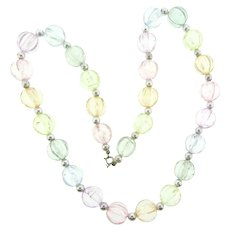 Vintage Lucite crackle beaded pastel beaded Necklace