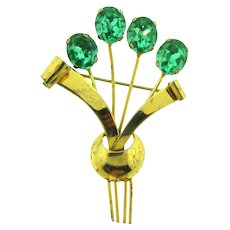 Marked Sterling vermeil 1940's floral Brooch with green glass buds