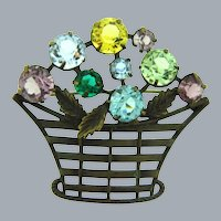 Vintage early flower basket Brooch with multicolored glass stones