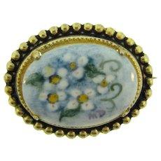 Vintage hand painted on porcelain floral signed Brooch