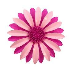 Vintage large metal flower Brooch in shades of pink