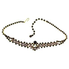Vintage 1960's choker rhinestone Necklace in purple hues