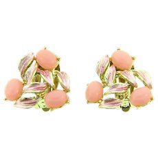 Signed Judy Lee clip back Earrings with pink enamel and pink thermoset cabochons