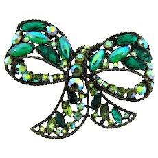 Signed ART large bow Brooch with shades of green rhinestones