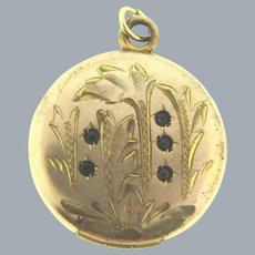 Signed RBM Atrice 1874 gold filled small chased Locket with paste stones