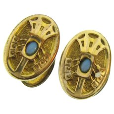 Signed S.B. Co. early gold filled top Cufflinks with small opal stones