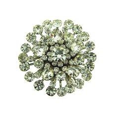 Vintage large circular crystal tiered rhinestone Brooch