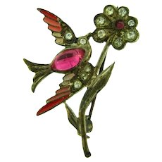 Vintage early small figural bird and flower Brooch with pink and crystal paste stones and enamel