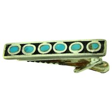 Vintage pat date to 1958 Tie Clip with turquoise chips