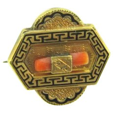 Vintage small gold tone Scatter Pin with small piece of branch coral