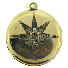 Signed S.&B. L Co. Veribest gold filled Locket with star design and paste stones
